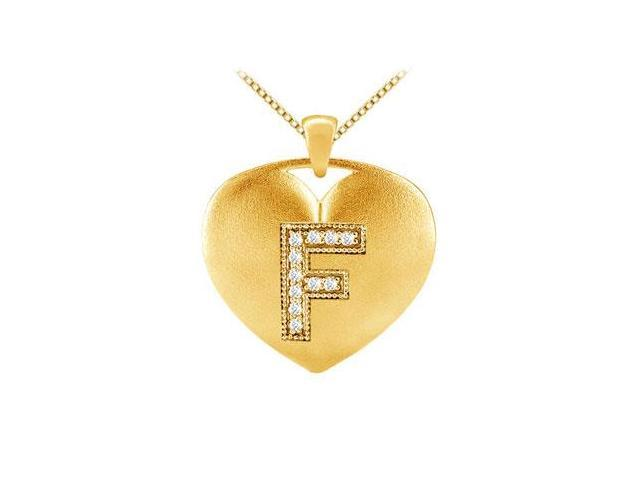 Heart Initial F Diamond Pendant with 0.11 Carat Diamonds in Yellow Gold 14K