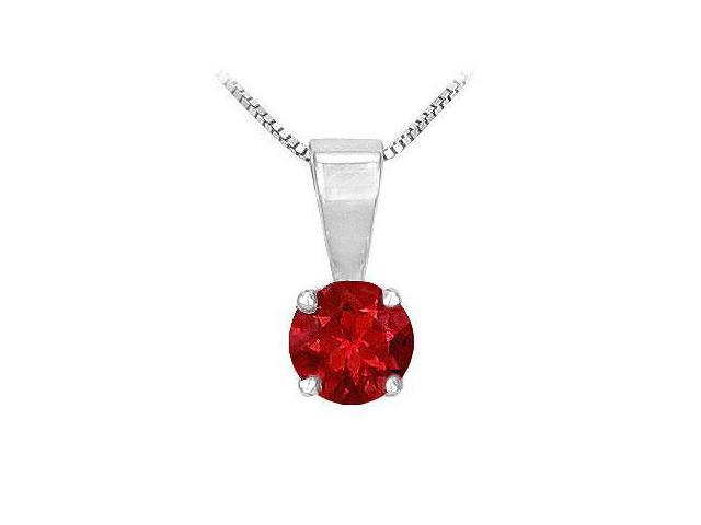 Ruby Solitaire Pendant  14K White Gold - 1.00 CT TGW