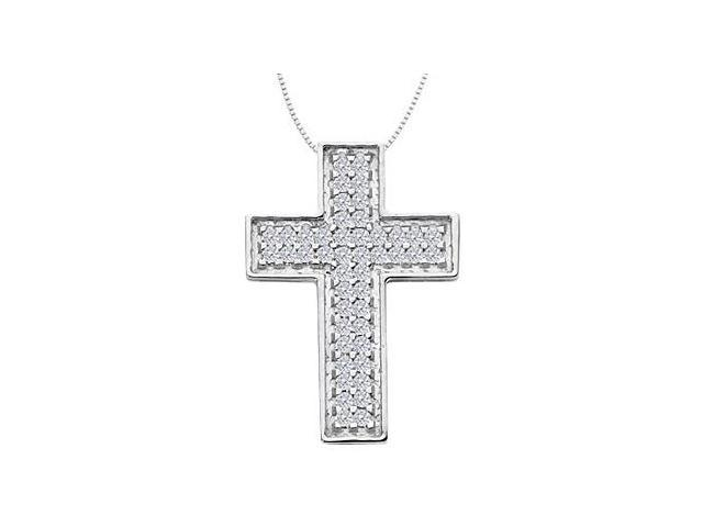 Pave CZ in 14K White Gold Cross Pendant Necklace with 2.30 Carat Total Gem Weight