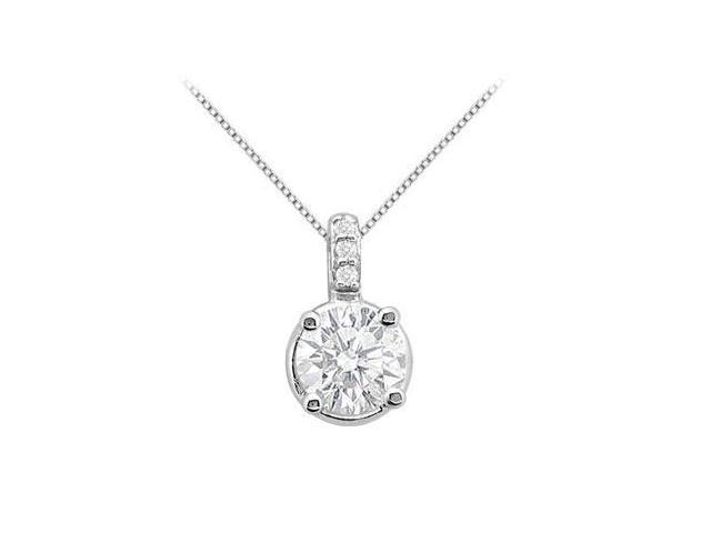 Large CZ 1 Carat Pendant in White Gold 14K with Total Gem Weight of 1.03 Carat