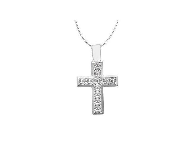 Princess Cut Diamond Cross Pendant in 14K White Gold 0.55 Carat Diamonds
