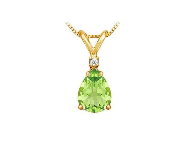 Diamond and Peridot Solitaire Pendant  14K Yellow Gold - 1.00 CT TGW