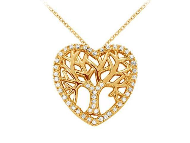 Cubic Zirconia Heart Pendant in Gold Vermeil over Sterling Silver 0.05 CT TGWJewelry Gift