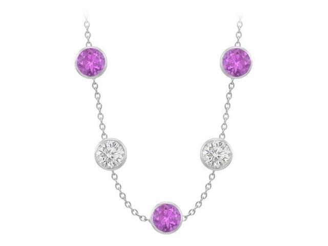 14K White Gold Station necklace with Amethyst and Cubic Zirconia 75 Carat in one full Yard Long