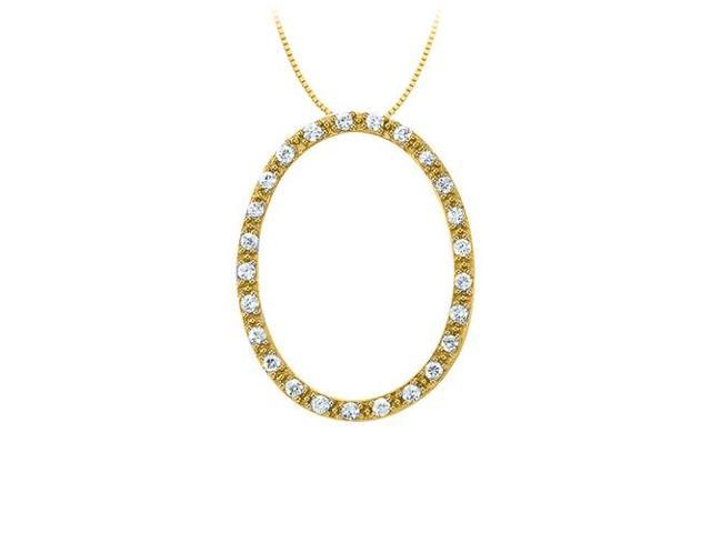 Diamond Oval Shaped Pendant in 14K Yellow Gold 0.33 CT TDWPerfect Jewelry Gift for Women