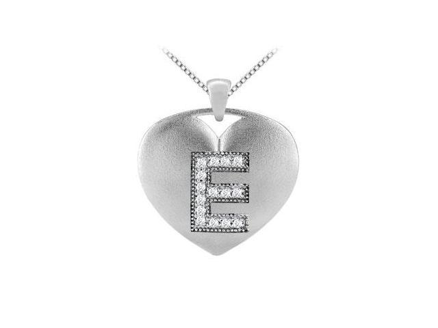 Initial E Diamond Heart Pendant in White Gold 14K with 0.15 Carat TDW