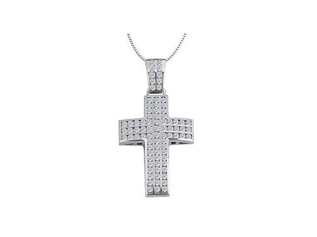 Cross Necklace with CZ Channel Set of 2.50 Carat Total Gem Weight in 14K White Gold