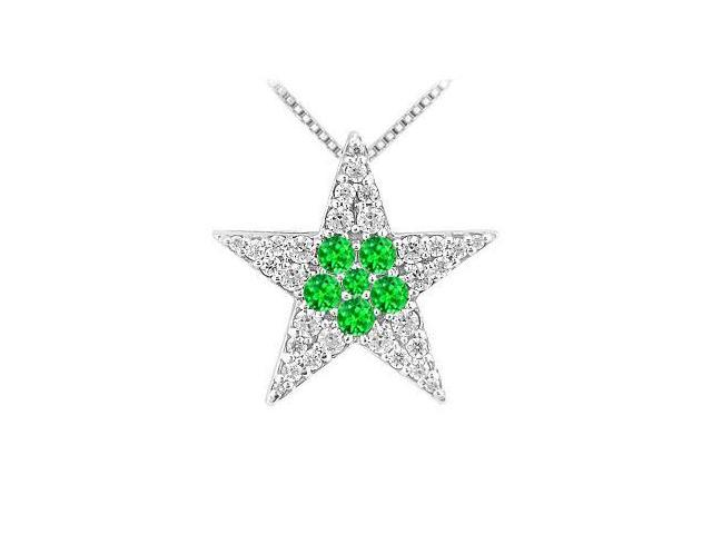 1 carat Cubic Zirconia with Frosted Emerald Star Pendant in Rhodium Treated 925 Sterling silver
