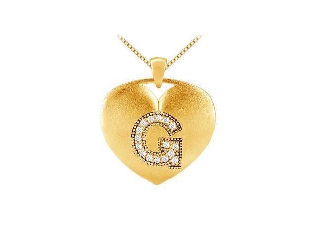 Milgrain set diamond initial G pendant in 14k yellow gold 0.16 ct tdw