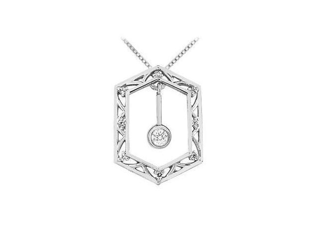 Diamond Frame Design Pendant  14K White Gold - 0.15 CT Diamonds