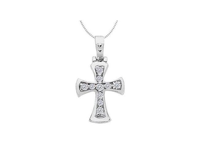 Polished Religious Cross Necklace with Diamond in 14K White Gold 0.25 Carat Diamonds