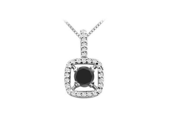 Round Black Onyx and Cubic Zirconia Pendant in Rhodium Treated Sterling Silver 2.50 Carat TGW