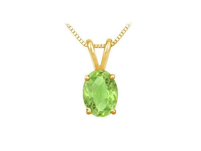 Peridot Solitaire Pendant  14K Yellow Gold - 1.00 CT TGW