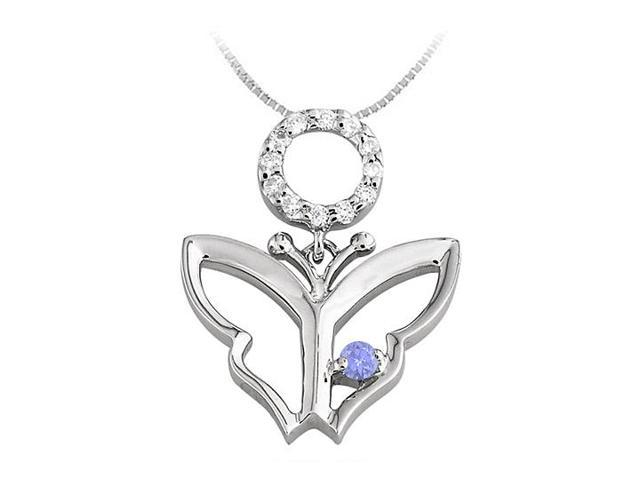 Butterfly Pendant Necklace with Diamond and Tanzanite in 14kt White Gold 0.15 CT TGW