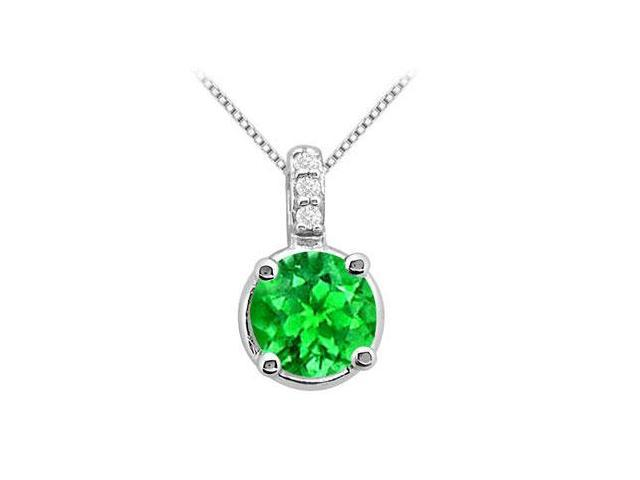 Large Frosted Emerald 2 Carat Pendant in 14K White Gold with White CZ  Total Gem Weight of 2.06