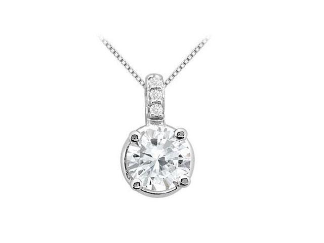 Necklace Cubic Zirconia 2 Carat Pendant in 14K White Gold 2.06 Carat Total Gem Weight