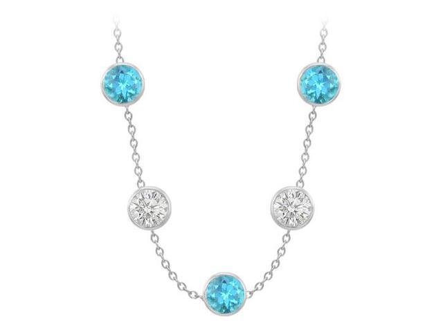 By The Yard Necklace Blue Topaz and Cubic Zirconia 75 Carat in 14K White Gold 36 Inch Long