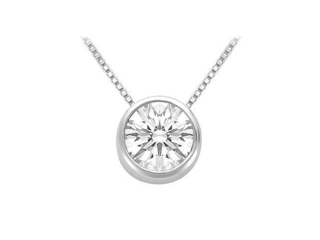 Bezel Set Cubic Zirconia Solitaire Pendant in Rhodium Treated .925 Sterling Silver 1.00 CT TGW
