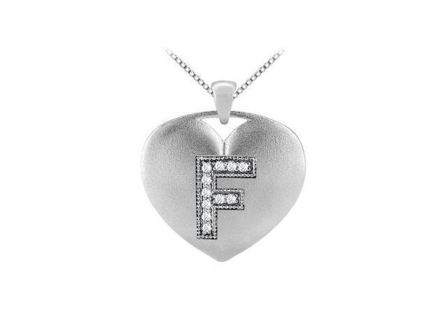 Heart Initial F Diamond Pendant with 0.11 Carat Diamonds in White Gold 14K