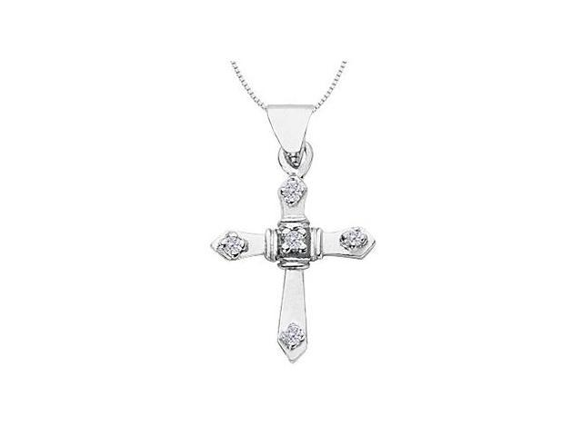 Religious Cross Diamond Pendant in 14K White Gold 0.10 Carat Diamonds