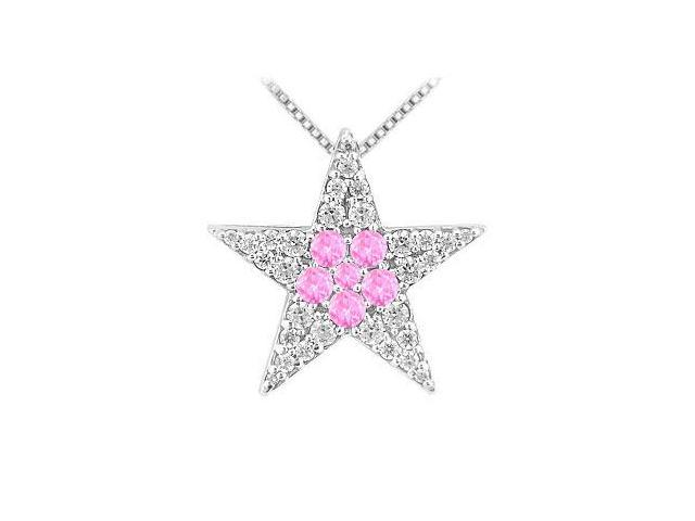 Star Pendant with Pink Sapphire and CZ in Rhodium Treated .925 Sterling Silver 1.00 CT TGW