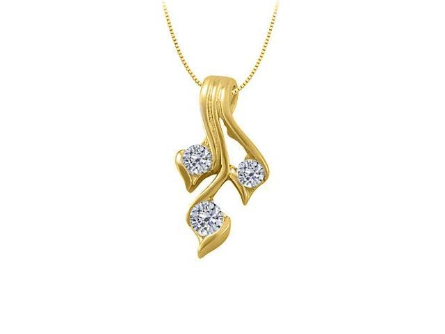 Three Stone Cubic Zirconia Pendant in Yellow Gold Vermeil over Sterling Silver 0.50 CT TGW