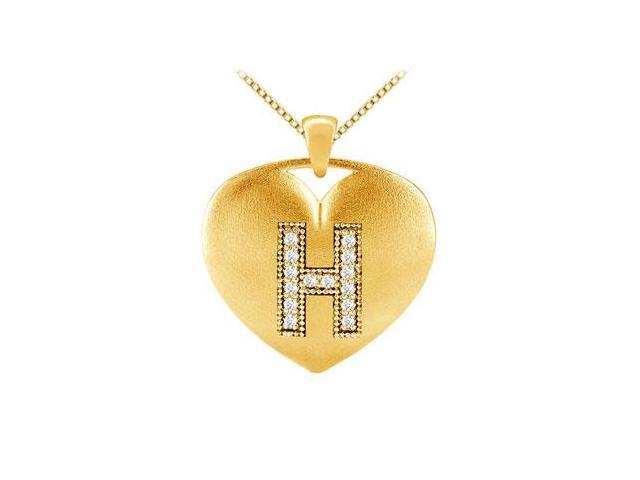 14K Yellow Gold Letter H Diamond Initial Pendant with 0.14 Carat Diamonds