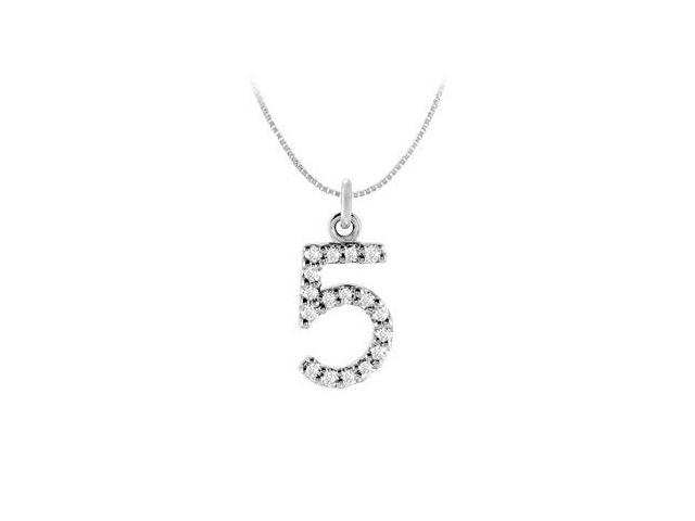 Cubic Zirconia Numeric 5 Charm Pendant  .925 Sterling Silver - 0.08 CT TGW