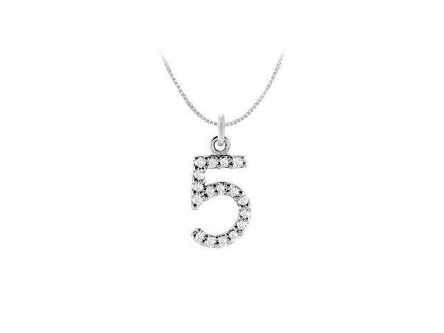 Diamond Numeric 5 Charm Pendant  14K White Gold - 0.08 CT Diamonds