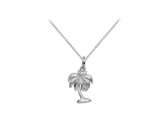 Palm Tree Pendant in Rhodium Treated .925 Sterling Silver 19.58 x 12.61 MM