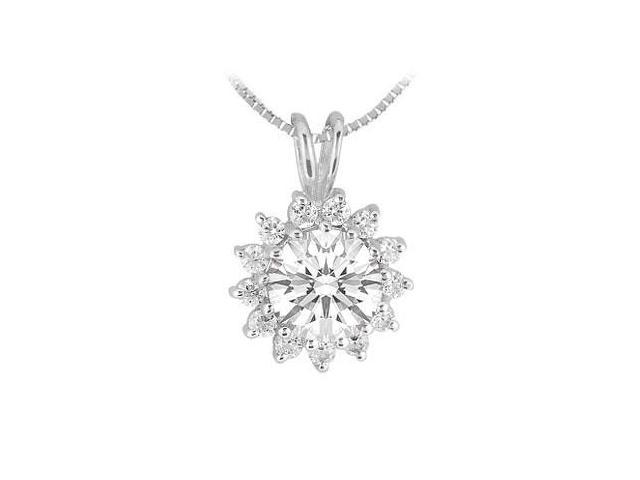 Rhodium Treated .925 Sterling Silver Pendant with Cubic Zirconia 1.25 Carat TGW