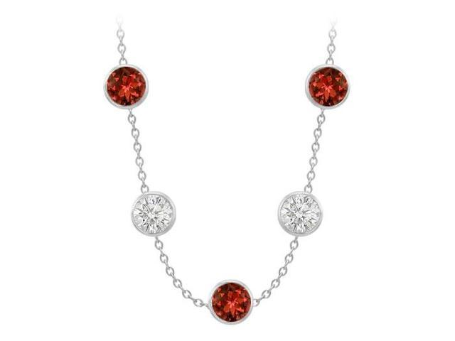 Color By The Yard Necklace Garnet and Cubic Zirconia 75 Carat in 14k White Gold 36 Inch Length