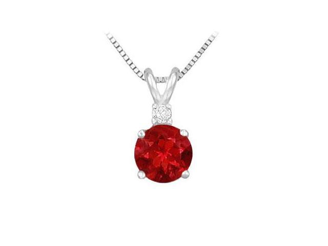 Diamond and Ruby Solitaire Pendant  14K White Gold - 1.00 CT TGW
