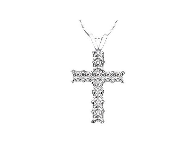 Princess Cut Diamond Cross of Religious Necklace in 14K White Gold 0.75 Carat Diamonds