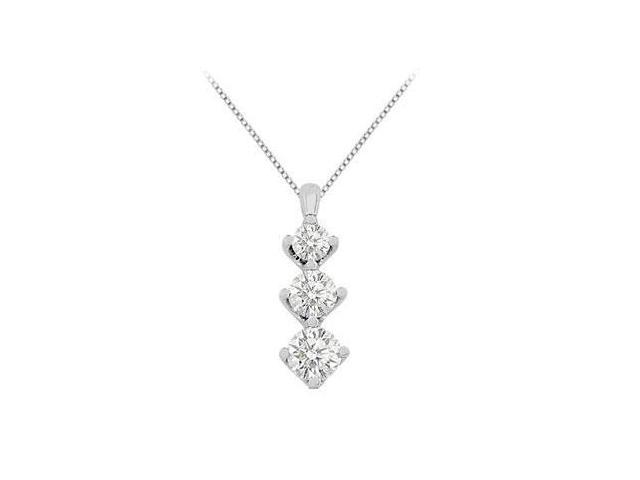 1 carat cubic zirconia necklace in white gold 14k pendant with total gem weight of 1.90 carat