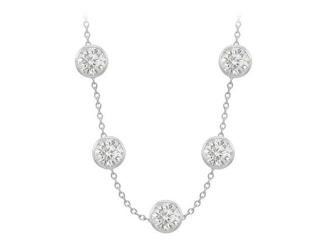 Cubic Zirconia By The Yard Necklace with 100 Carat in 14K White Gold 36 Inch Long