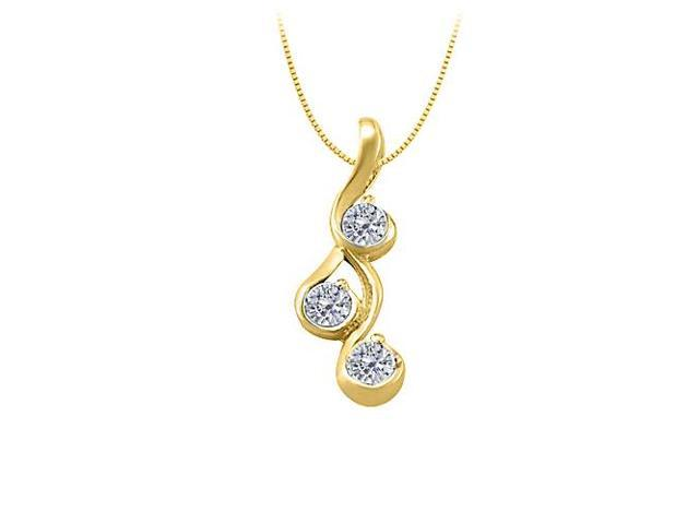 Three Stone Cubic Zirconia Pendant in Yellow Gold Vermeil over Sterling Silver 0.25 CT TGW