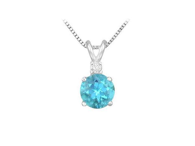 Diamond and Blue Topaz Solitaire Pendant  14K White Gold - 1.00 CT TGW