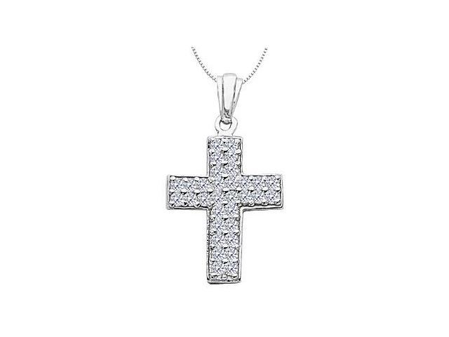 1 Carat Diamond Pave Cross Pendant in 14K White Gold Religious Necklace
