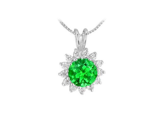 Frosted Emerald and Cubic Zirconia Pendant in Rhodium Treated 925 Sterling Silver 1.25 Carat TGW