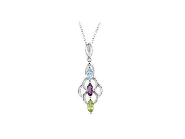 Multi Gemstone Necklace in .925 Sterling Silver 07.00X03.50 MM with 18 Inch Chain