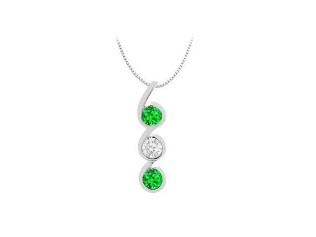 Three Stone Pendant of Created Emerald and Cubic Zirconia in 14K White Gold 1.20 Carat Total Gem