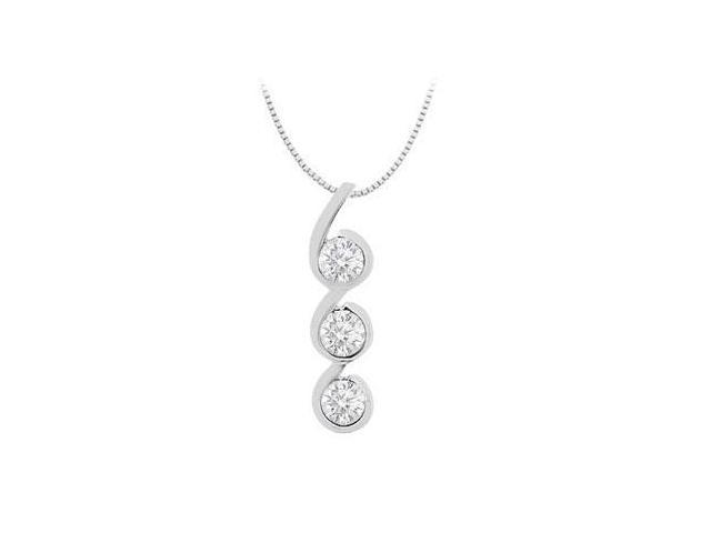 White Cubic Zirconia Three Stone Pendant with 1.20 Carat Total Gem Weight in White Gold 14K