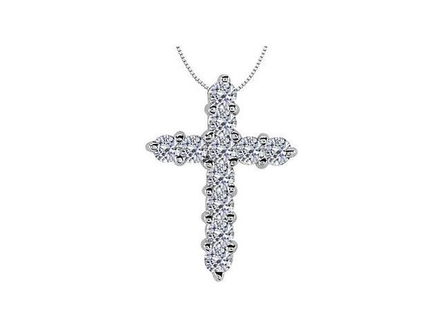Diamond Cross Pendant of 0.25 Carat Total Diamond Weight in 14K White Gold Religious Necklace