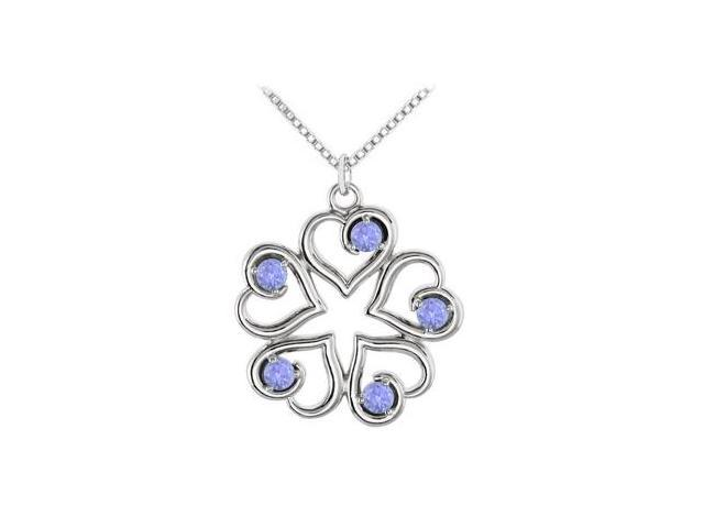 December Birthstone Created Tanzanite Heart Pendant in 14kt White Gold 0.25 CT TGW