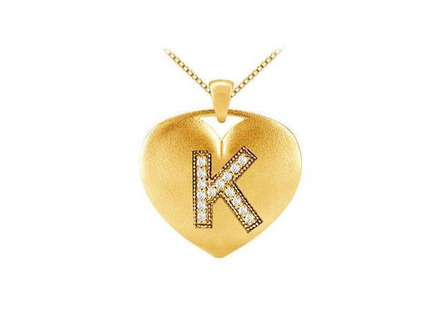 Heart initial K diamond pendant in 14k yellow gold 0.15 carat diamonds