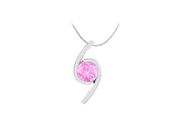 Created Pink Sapphire Pendant in 14K White Gold 2.00 Carat TGW