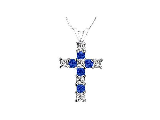 14K White Gold Cross of Religious Necklace with Princess Cut Diamond and Blue Sapphire 0.75 Cara