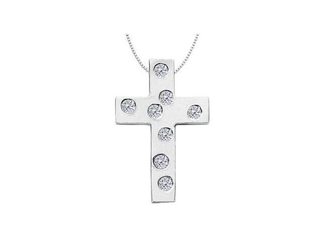Pave Diamond Cross Pendant Necklace in 14K White Gold 0.33 Carat Diamonds
