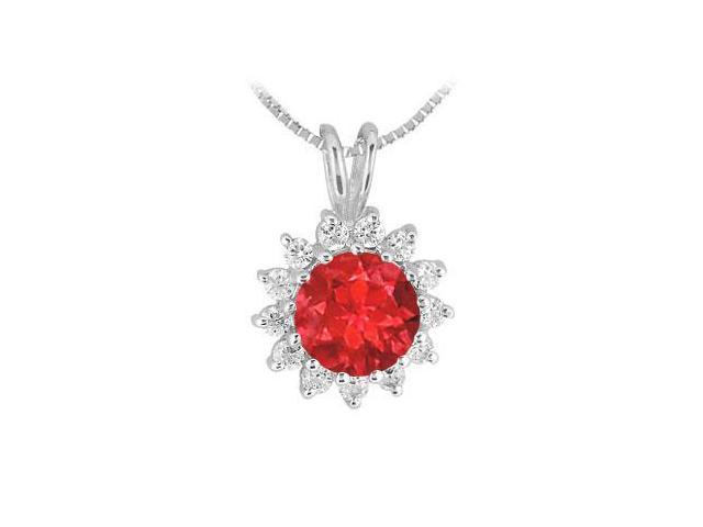 Ruby Pendant in Rhodium Treated .925 Sterling Silver with Cubic Zirconia 1.25 Carat TGW